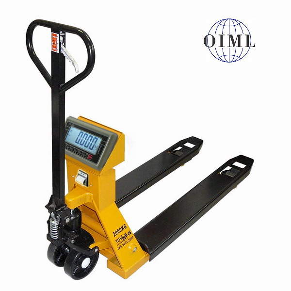 TSCALE TPS-I, 2t/1kg, 555mmx1160mm (Paletový vozík s váhou do 2000kg ověřený)