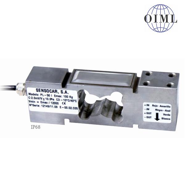 SENSOCAR PL-50, 100kg, IP-68, nerez (Tenzometrický snímač zatížení pro středové zatížení SENSOCAR  model PL-50 s krytím IP-68)