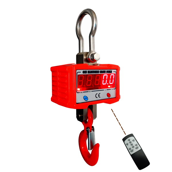 LESAK ZEV-SL-2000, 2t/1kg ( Závěsná/jeřábová váha s dálkovým ovládáním a svítícím LED displejem v ocelovém provedení)