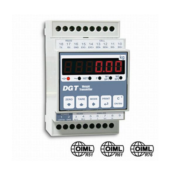DINI ARGEO - DGT1AN, transmiter - indikátor hmotnosti s analogovým výstupem (Indikátor hmotnosti DINI ARGEO pro průmyslové aplikace, umístění na DIN lištu, analogový výstup prudový i napěťový)