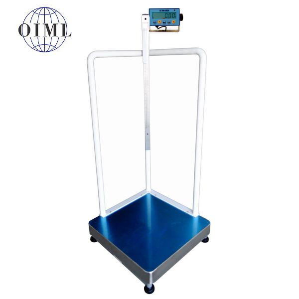 LESAK 1T6060LODVDFWL, 150kg/50g, 600x600mm (Osobní certifikovaná lékařská váha s madly pro vážení osob se sníženou stabilitou)