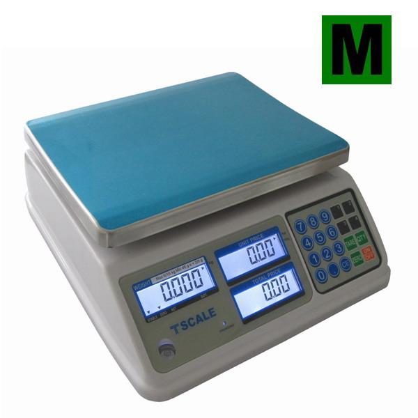 TSCALE SP, 6;15kg/2;5g, 200mmx260mm (Obchodní váha s výpočtem ceny v nízkém provedení do mokr