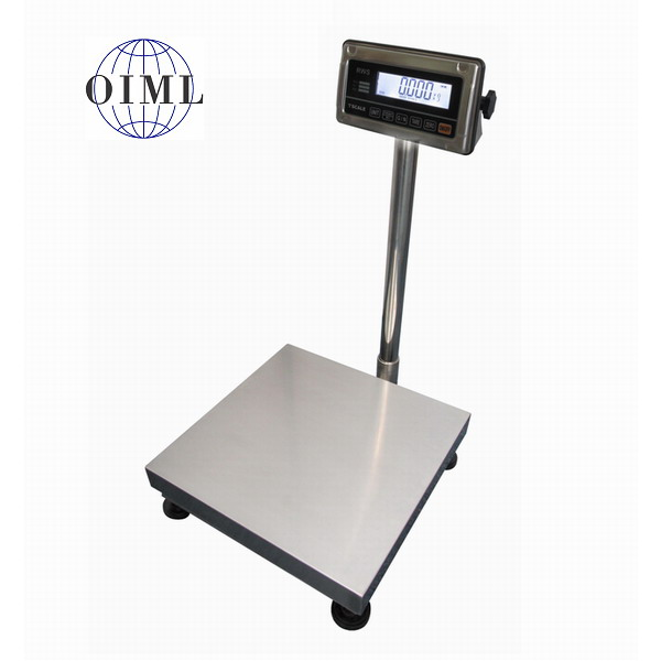 LESAK 1T4040NNRWS/DR, 30;60kg/10;20g, 400mmx400mm  (Můstková nerezová voděodolná váha s dvojím rozsahem a nerezovým vážním indikátorem RWS)