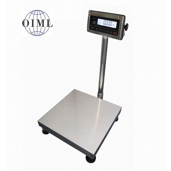 LESAK 1T5050NNRWS/DR, 30;60kg/10;20g, 500mmx500mm (Můstková nerezová voděodolná váha s dvojím rozsahem a nerezovým vážním indikátorem RWS)