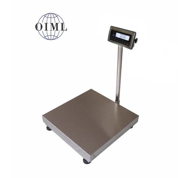 LESAK 1T6060NNRWS/DR, 150;300kg/50;100g, 600mmx600mm (Můstková nerezová voděodolná váha s dvojím rozsahem a nerezovým vážním indikátorem RWS)