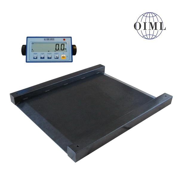 LESAK 4TUVN1010L-DFWL, 300kg/100g, 1000mmx1000mm, lak (Nájezdová snížená váha s vestavěnými nájezdy včetně indikátoru)