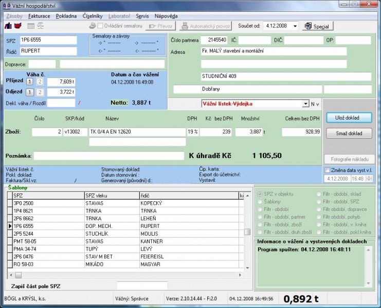 SW vážní hospodářství (Software pro automobilové váhy)