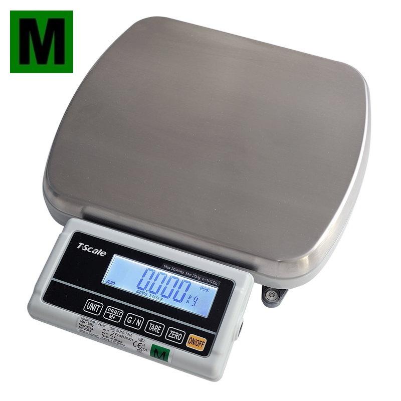 TSCALE FOX-I, 30;45kg/10;20g, 310mmx270mm, plast/nerez (Stolní váha s dvojím rozsahem, provoz síťový i bateriový)