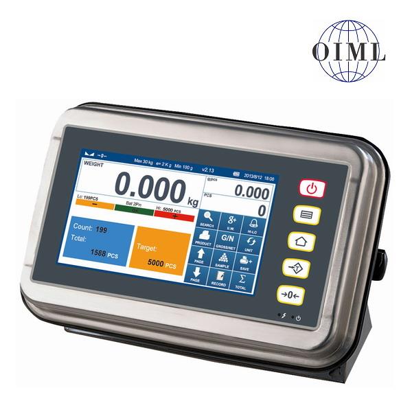 TSCALE S7, IP-65, nerez, LCD dotykový displej (Nerezový inteligentní indikátor s režimem počítání kusů a kontrolu limitu výrobku, pro obchodní vážení)