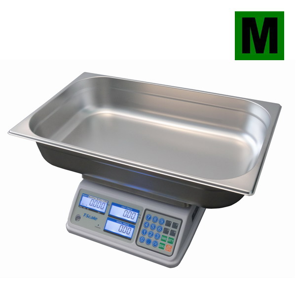 TSCALE SP-MR, 6;15kg/2;5g, 530mmx325mm (Obchodní váha s výpočtem ceny na prodej ryb vhodná do mokrého prostředí)
