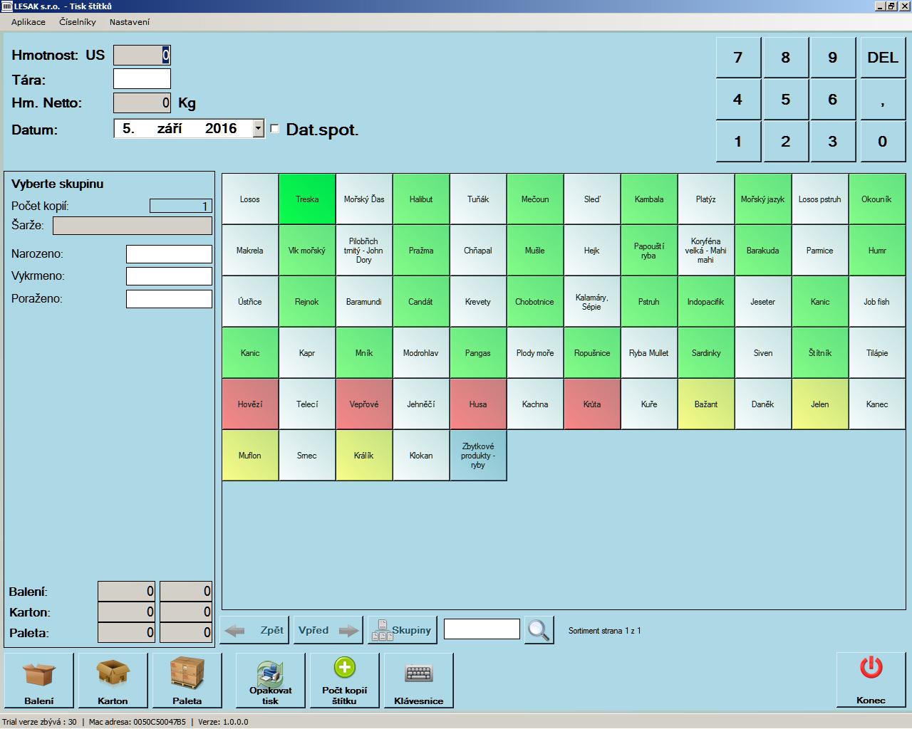 LESAK Tisk štítků (Software pro tisk štítků/etiketování výrobků s připojenou váhou)