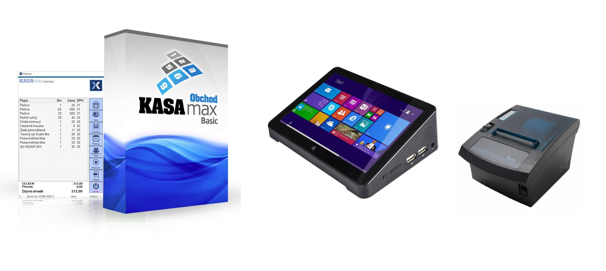 """LESAK MINITER9 + KASAMAX OBCHOD BASIC, pokladna pro EET (Jednoduché řešení pro EET s 9"""" dotykovým LCD displejem, tiskárnou a základním programem KASAMAX OBCHOD BASIC)"""