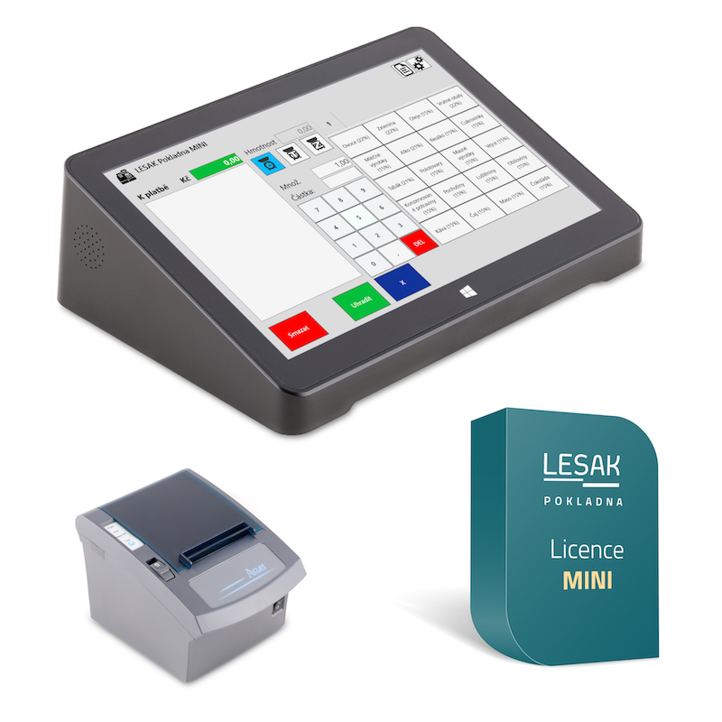 """LESAK MINITER9 + POKLADNA MINI, pokladna pro EET (Jednoduché řešení pro EET s 9"""" dotykovým LCD displejem, tiskárnou a základním programem POKLADNA MINI.)"""