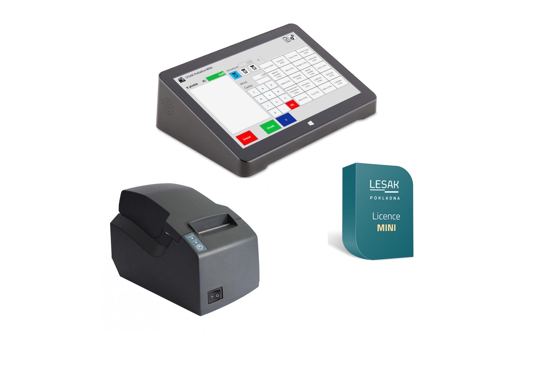 """LESAK MINIPOS11 + POKLADNA MINI, pokladna pro EET (Jednoduché řešení pro EET s 11"""" dotykovým LCD displejem, tiskárnou a základním programem POKLADNA MINI.)"""