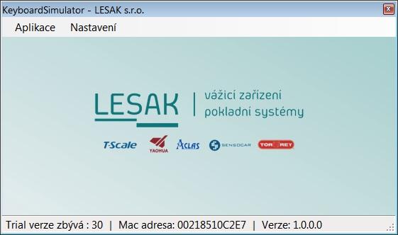 LESAK SW Simulátor klávesnice (Program pro záznam hmotnostního údaje z váhy do místa kde se nachází kurzor)