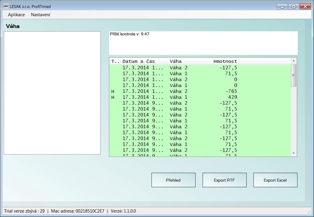 LESAK SW Zobrazení a záznam hmotnosti (Program, který Vám bude automaticky sledovat průběh vážení z více vah, ukládat hodnoty do archivu a posílat je dále přes COM port)