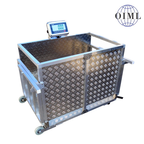 LESAK 4TD0610AL-TRANSPORT, 150kg/100g, 650x1000mm, hliník (Mobilní váha na prasata v hliníkovém provedení, kolečka + madla)