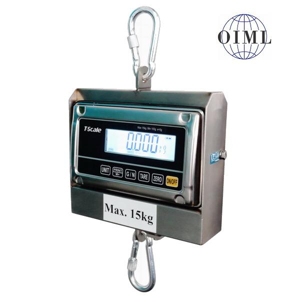 LESAK J1-RWS-IP, 3kg/1g, nerez (Závěsná/jeřábová voděodolná váha pro obchodní vážení s LCD displejem v nerezu)