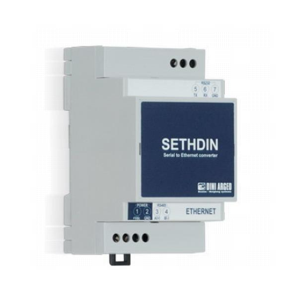 DINI ARGEO SETHDIN-1, Převodník RS232 / RS485 / Ethernet (Převodník RS232 / RS485 / Ethernet, pro všechny indikátory hmotnosti Dini Argeo přes sériový port)