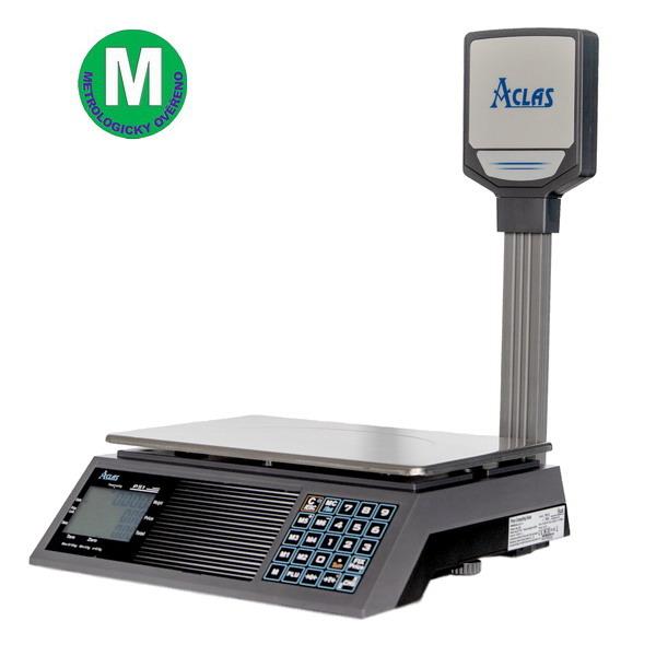 ACLAS PS1-15PB, 6;15kg/2;5g, 330mmx230mm (Obchodní pultová váha s výpočtem ceny s displejem na stativu)