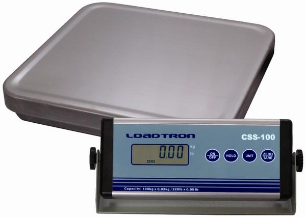 LESAK CSS, 100kg/20g, 330mmx320mm (Levná balíková váha pro kontrolní vážení s odděleným displejem a provozem i na baterie)