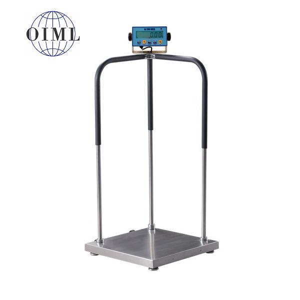 LESAK 1T6060LODDFWL, 150kg/50g, 600x600mm (Osobní certifikovaná lékařská váha s madly pro vážení osob se sníženou stabilitou)