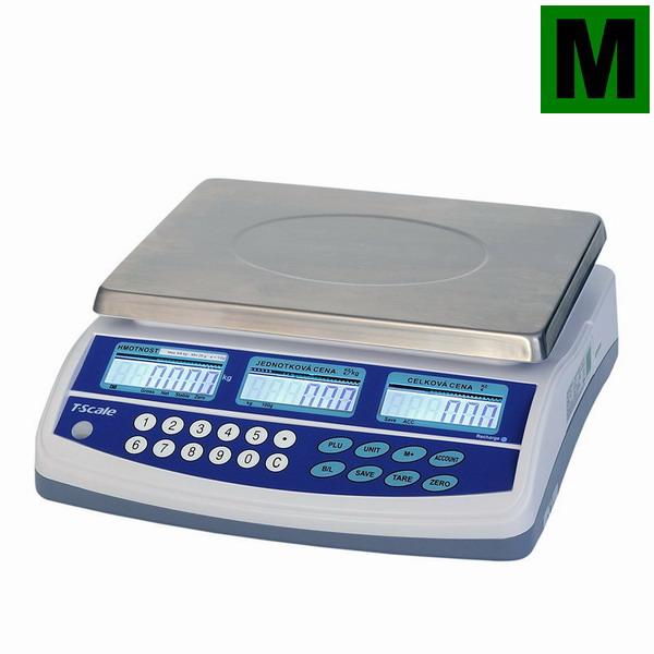 TSCALE QTP, 3;6kg/1;2g, 300mmx230mm (Obchodní váha s výpočtem ceny v nízkém provedení)