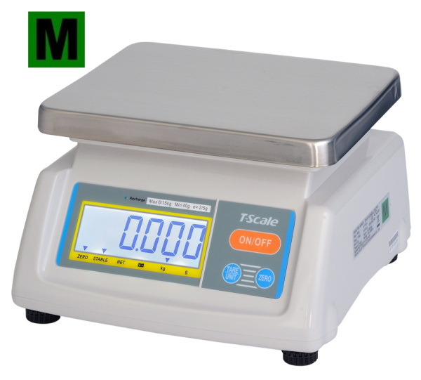 TSCALE T28-15D, 6;15kg/2;5g, 190mmx230mm (Gastro váha se dvěma displeji pro kuchyně, výrobny a sklady)