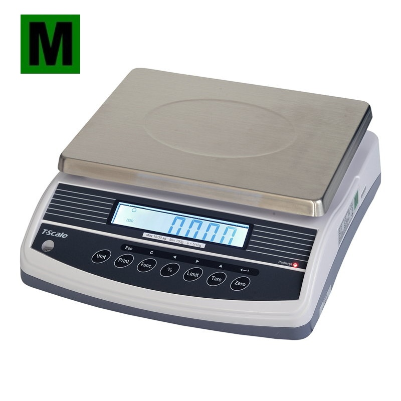 TSCALE QHW, 15;30kg/5;10g, 300mmx230mm (Obchodní gastro váha s režimem počítání kusů a dalšími funkcemi)