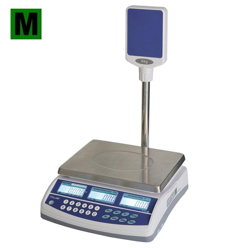 TSCALE QSP, 3;6kg/1;2g, 300mmx230mm (Obchodní váha s výpočtem ceny a displejem na stativu)