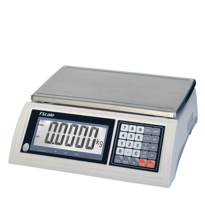 TSCALE JW15HR, 15kg/0,5g, 240mmx370mm (Stolní počítací váha JW pro kontrolní vážení s režimem tolerance hmotnosti)