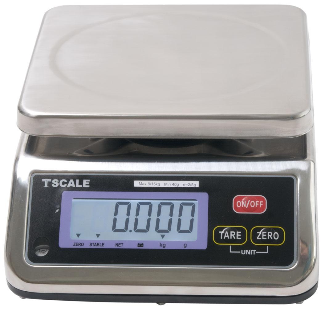 TSCALE S29B, 6;15kg/2;5g, 190mmx230mm (Gastro váha v krytí IP-67 určená do kuchyní, výroben a skladů)