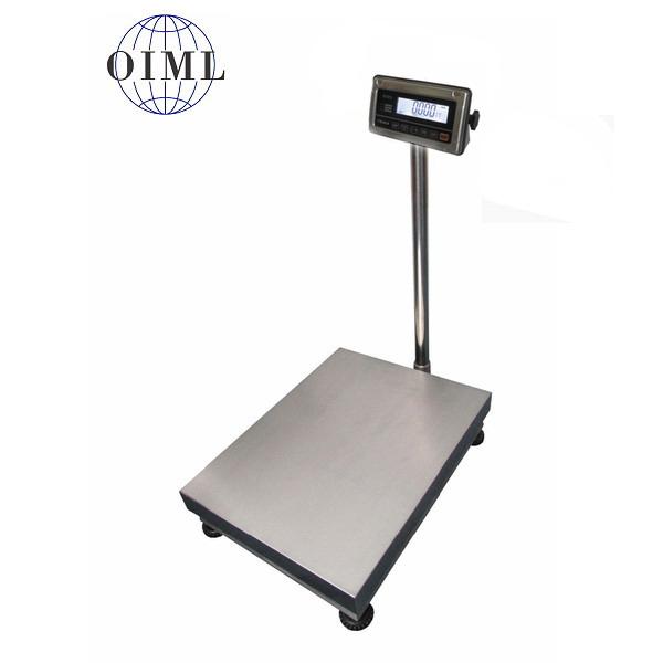 LESAK 1T6080NNRWS/DR, 300;600kg/100;200g, 600mmx800mm (Stolní nerezová voděodolná váha s dvojím rozsahem s nerezovým vážním indikátorem)