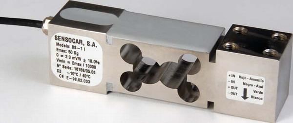SENSOCAR BS-1, 100kg, IP-67, nerez (Tenzometrický snímač zatížení pro středové zatížení SENSOCAR  model BS-1)